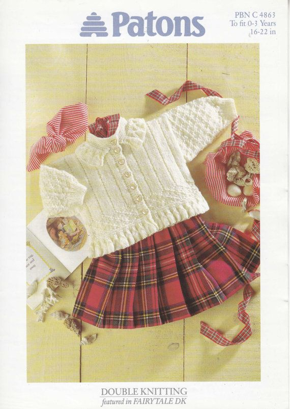 2920a63d4f6f 4863 Patons Knitting Pattern Baby Toddler Girl s Cardigan 16-22