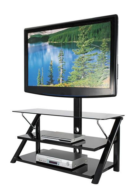 44 Swivel Black Glass Tv Stand At Big Lots Glass Tv Stand
