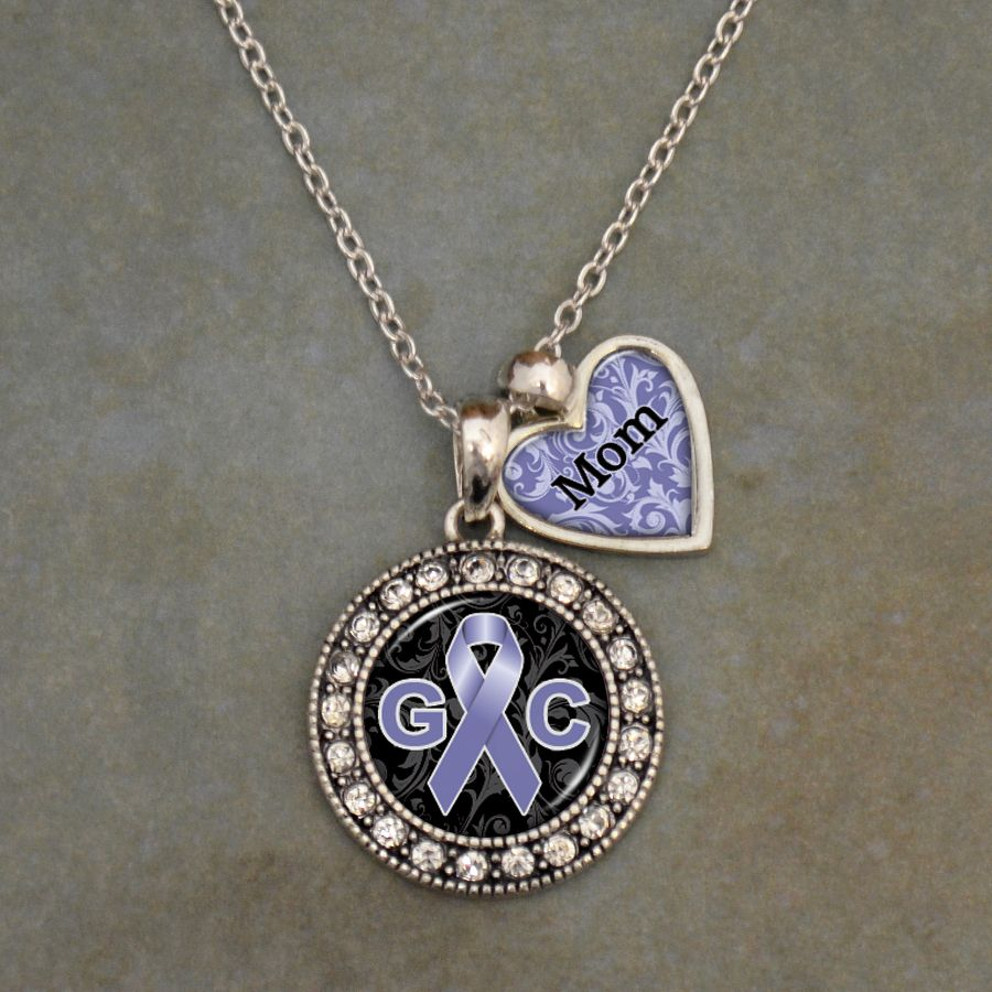 Custom Loved One Gastrointestinal Cancer Awareness Necklace,now just  $9.98 // Help support the cause with  your own personalized necklace! // Charming Collectables