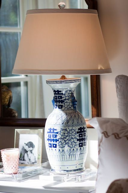 Blue White Chinoiserie Lamp With Lucite Base Finial Maggie Griffin Design