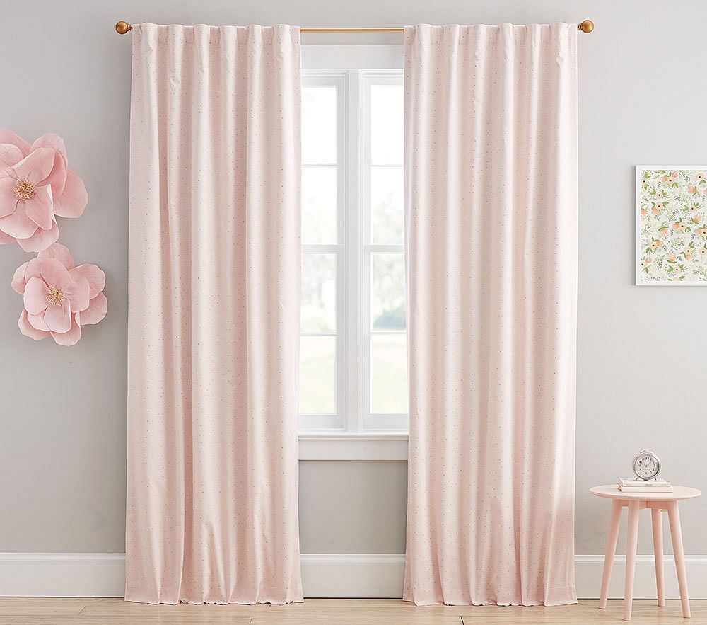 Metallic Dot Blackout Curtain Panel Girls Room Curtains Pink Baby Room Baby Girl Room