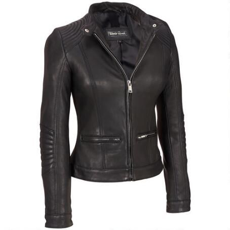 Black Rivet Stitch Shoulder Leather Jacket w/Nipped Waist $379.99 ...