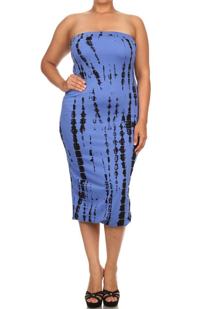 16392b10a96 Plus Size Painted Canvas Blue Tube Dress – PLUSSIZEFIX