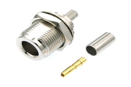 N Type Jack Female Bulkhead Crimp Straight 50 Ohms Rf Coaxial Cable Connectors Http Antenna Connector Com Products N Type Jack F Connectors Rf Connector Type