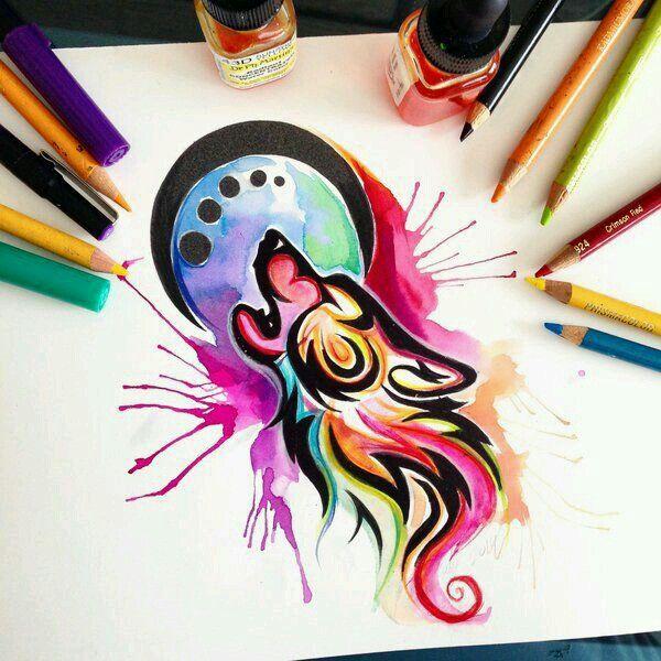 Lobo De Colores Dibujos De Lobos En 2019 Art Watercolor Wolf Y