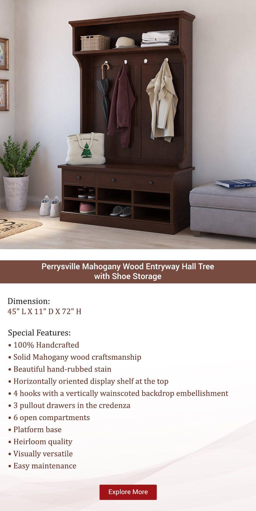 Perrysville Mahogany Wood Entryway Hall Tree With Shoe Storage Mahogany Wood Hall Tree With Shoe Storage Hall Tree
