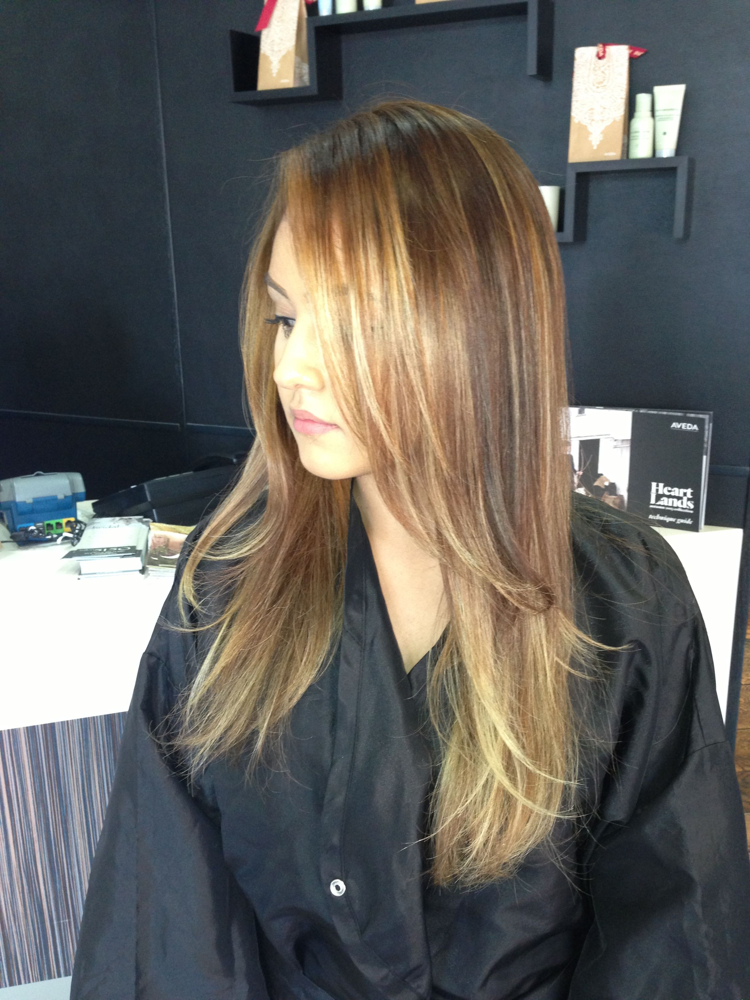 Full Head Of Balayage Highlights And Lowlights Strategically Place