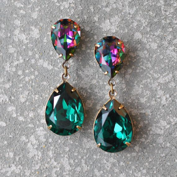 Emerald Dark Rainbow Swarovski Crystal Rhinestone Earrings Post Or Clip On Tear Drop Ss Hourgl Mashugana