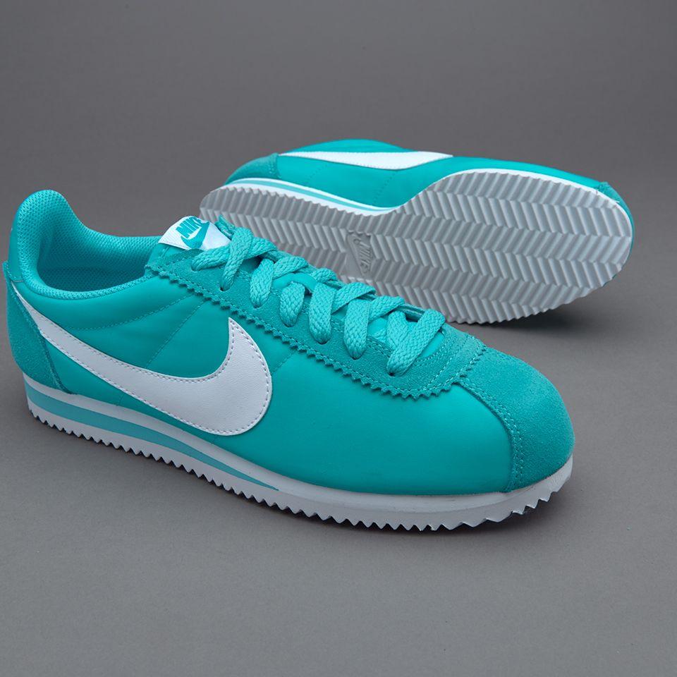 Women Nike Classic Cortez Nylon Trainers In Blue