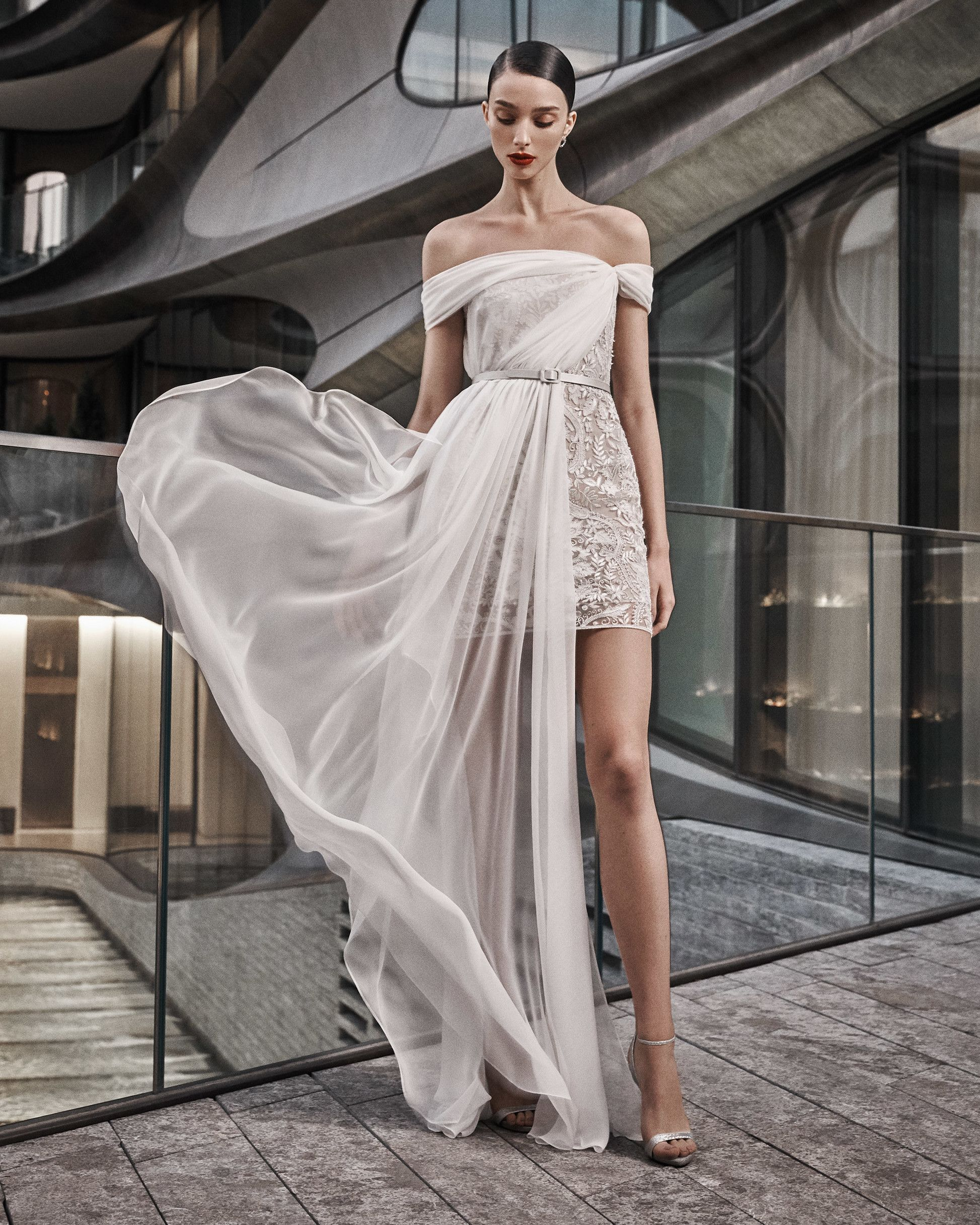 Naeem Khan 2019 Lace Cocktail Wedding Dress With Off The Shoulder Neckline And Asymmetrically Draped Ov Naeem Khan Bridal Short Wedding Dress Wedding Dresses [ 2433 x 1947 Pixel ]