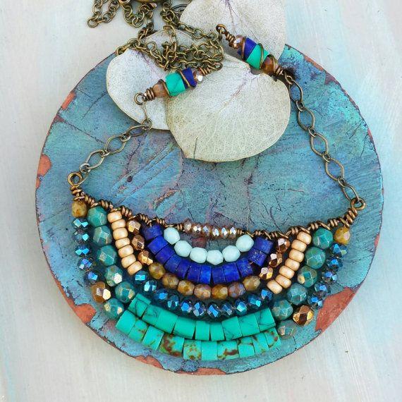 Blue beaded jewellries by Ofri Besht on Etsy