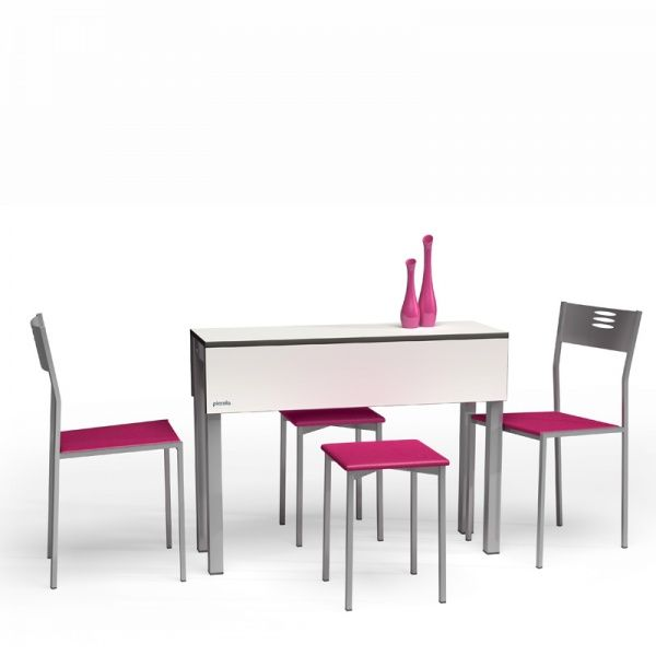 table de cuisine petit espace en m lamin avec allonges piccola modularit espace. Black Bedroom Furniture Sets. Home Design Ideas