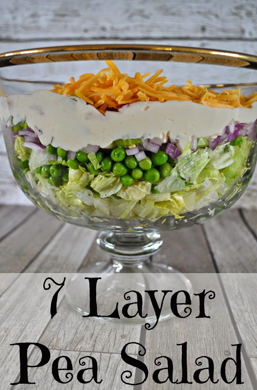 7 Layer Pea Salad Recipe With Kraft Miracle Whip Layered Salad Layered Salad Recipes Pea Salad Recipes