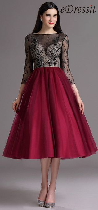 [USD 169.99] eDressit Burgundy Tea Length Cocktail Evening Dress with Embroidery…