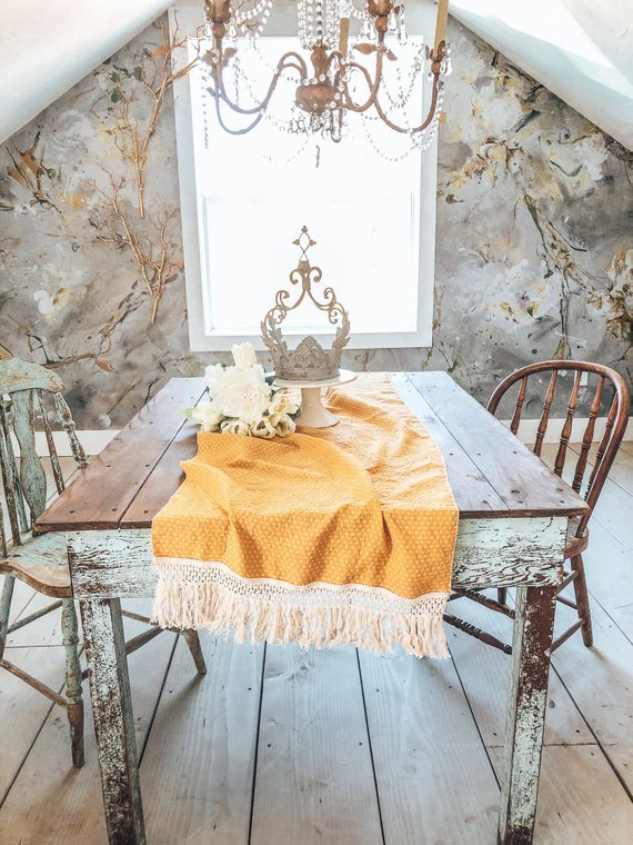 Swell Shabby Chic Table Runner Yellow Table Runner Boho Table Download Free Architecture Designs Remcamadebymaigaardcom