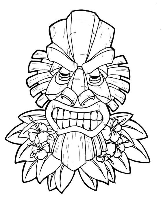 Tiki Head Coloring Book