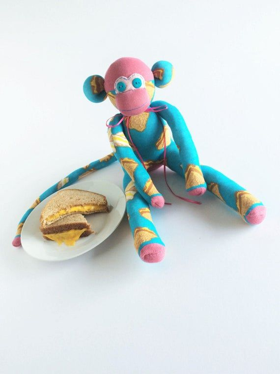Grilled Cheese Sock Monkey - Sock Monkey - Grilled Cheese - Cheese Lover - Sandwich Lover - Blue Soc #sockmoneky