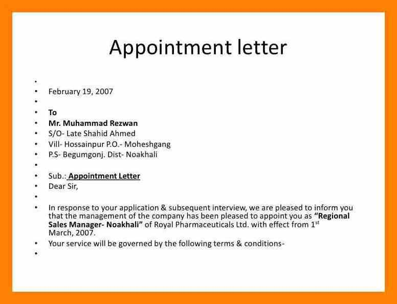 simple appointment letter Letter Of Appointment - cv01billybullock