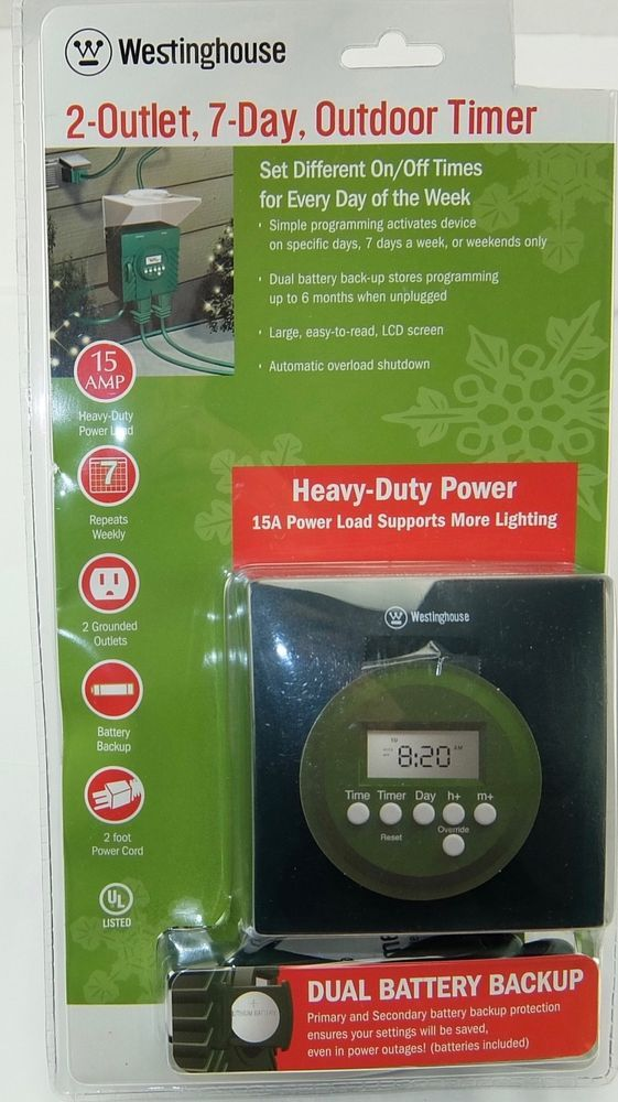 Westinghouse 2 Outlet 7 Day Outdoor Timer Battery Backup 15 Amp