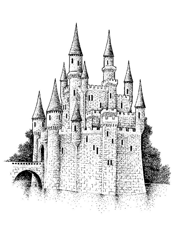 big castle Colouring Pages | Castles Dragons Knights Coloring Pages ...