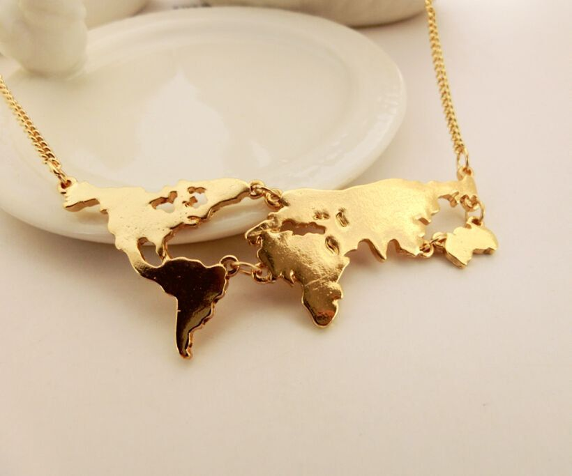 Gold world map necklace country necklace travel necklace bridesmaid gold world map necklace country necklace travel necklace bridesmaid giftwedding gift by aeenher on gumiabroncs Image collections