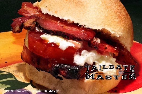 Pro Bowl Pork Loin Burger - Boneless BBQ Pork Chop Sammich Hawaiian Style !