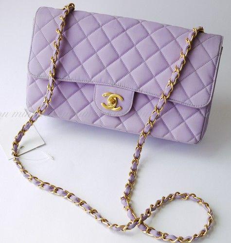 Auth Chanel Purple Quilted 2 55 Vintage Handbag Purse Shoulder Bag 1377 Bags Chanel Bag Luxury Bags