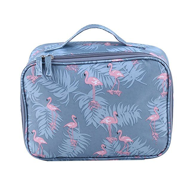 464a56a95844 HENGSONG Make up Bag Flamingo Cat Flowers Cactus Pattern Travel Cosmetic  Bags Toiletry Bag Makeup Case