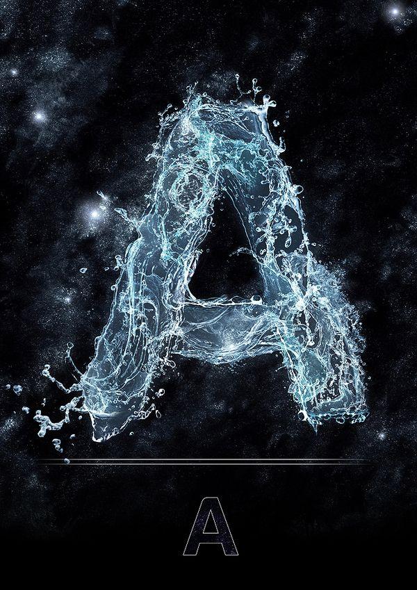 Daniel Reuber Water Type Typographic Art Flame Art Alphabet Wallpaper
