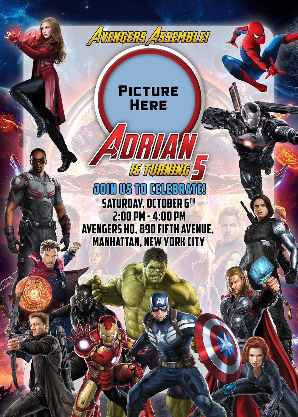 avengers 5r birthday invitation