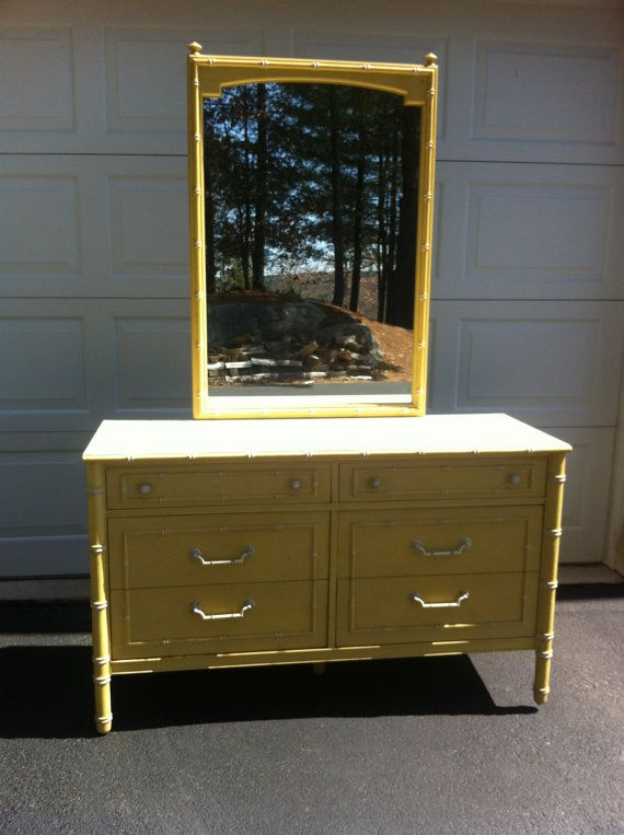 Painted To Order Vintage Thomasville Faux Bamboo Dresser With Mirror