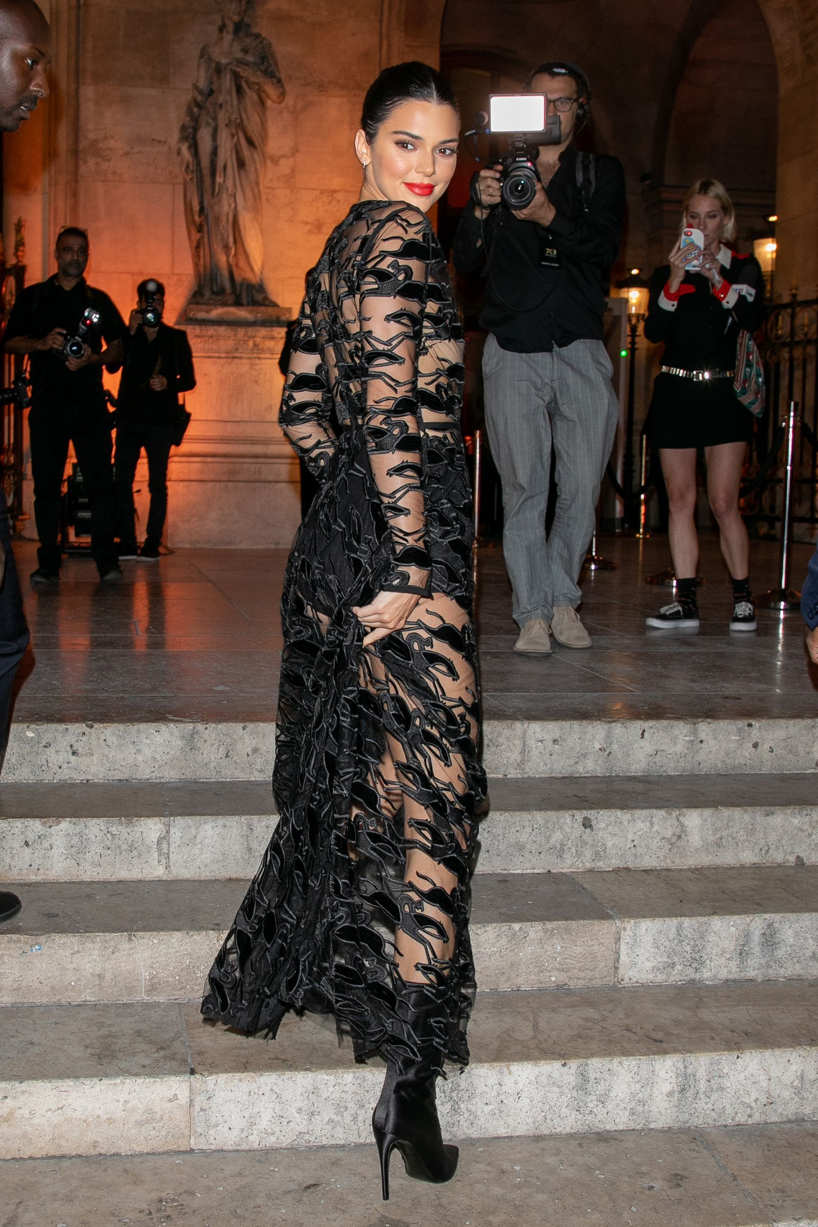 5d54e8f7fab4b Kendall Jenner Wore a Naked Dress for a Fancy Night Out in Paris Plunge  Dress,