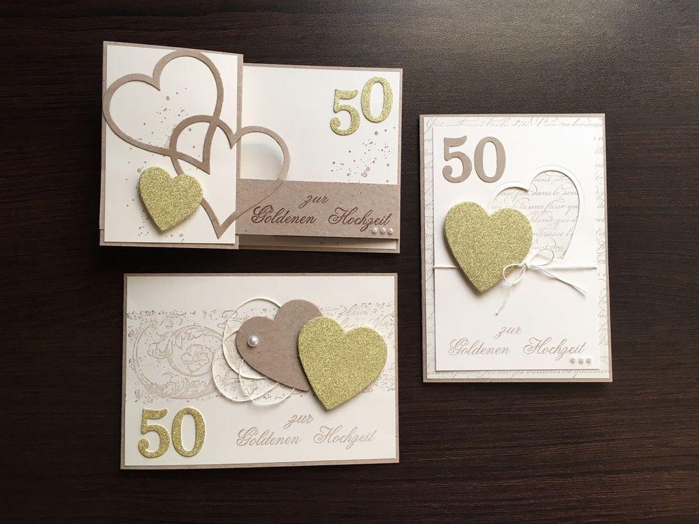 3er Set Handgemachte Karte Goldene Hochzeithochzeitkarte