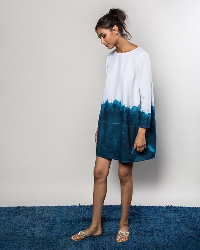 Paying tribute to #EarthDay today and our love for water, the ocean, indigo and natural fibers with this #Linen #Dipdyed Lantern Dress. Without earth's resources we wouldn't be able to do what we do – and so we always conserve, upcycle and repurpose. • Indigo dip-dye by our very own @alicefayeyoungblood | Photo: @heidmannphoto | Model: @jess_eppsasiaticakc
