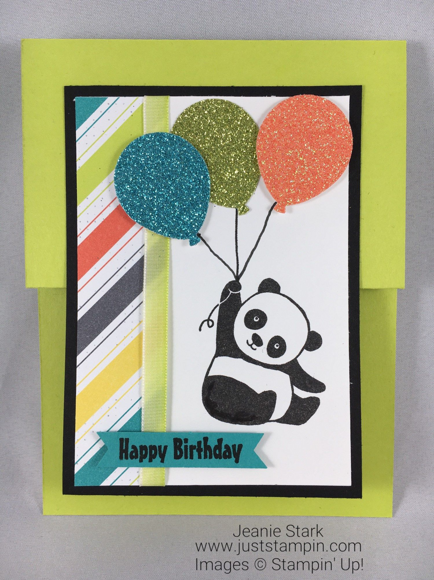 Stampin up party pandas double z fun fold birthday card idea with