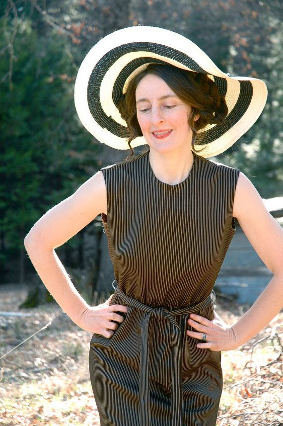 Pinstriped 60s Dress Brigitte Bardot Style by AstralBoutique, $28.00
