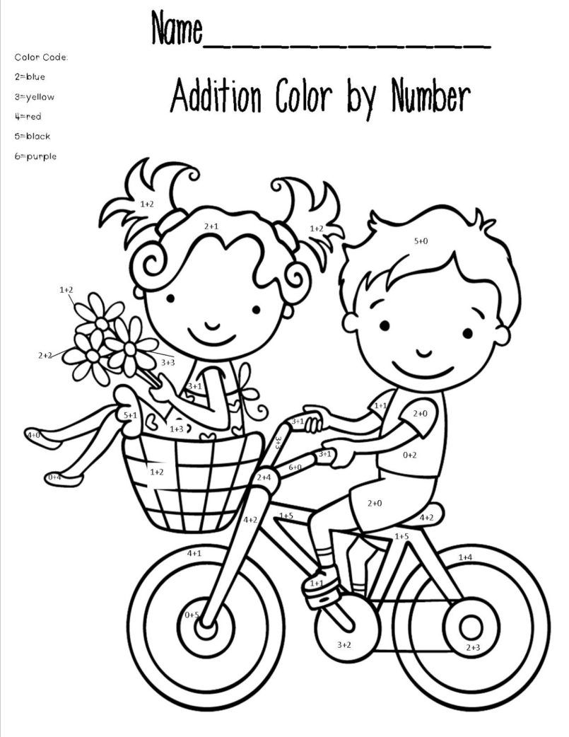 Coloring Addition Worksheets For Grade 1 in 2020 1st