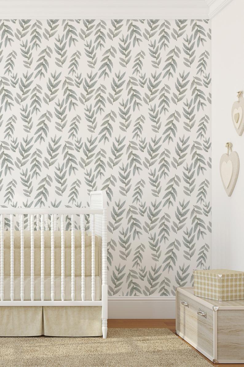 Botanical Wallpaper For Nursery In Peel And Stick Wallpaper Etsy In 2020 Nursery Wallpaper Nursery Accent Wall Kids Room Wallpaper