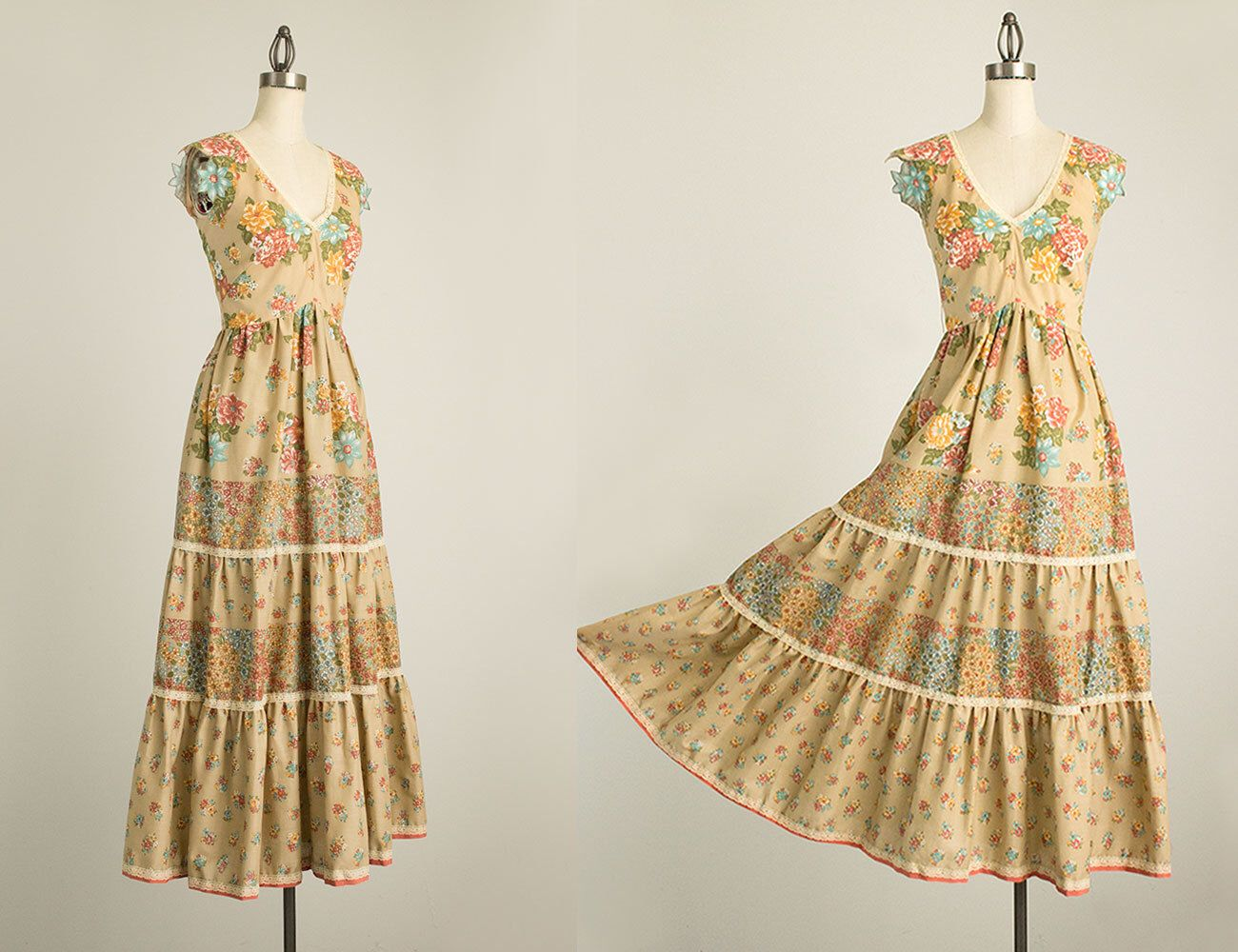 Floral print wedding dresses  s Vintage Victor Costa Floral Print Cotton Maxi Length Prairie Day