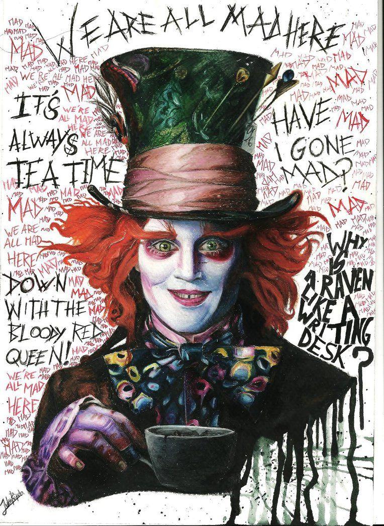 The Mad Hatter From Alice In Wonderland Tim Burton Watercolour Pencils21x30 Alice In Wonderland Drawings Mad Hatter Drawing Dark Alice In Wonderland