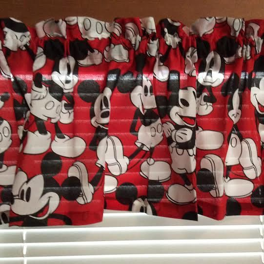 Red Mickey Curtain Valance Kids Bedroom Or Playroom Decor Etsy Mouse Curtains