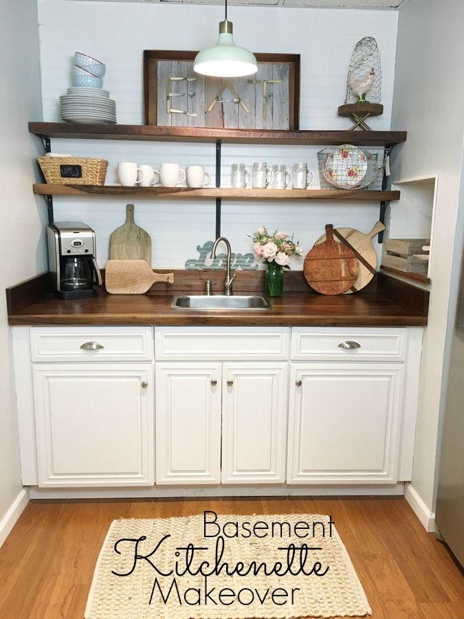 basement kitchenette makeover blogger home projects we love basement kitchenette basement. Black Bedroom Furniture Sets. Home Design Ideas