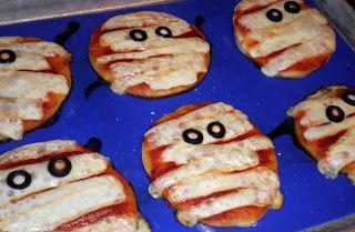 Busy Little Kitchen: Halloween Fun: Mini Mummy Pizzas