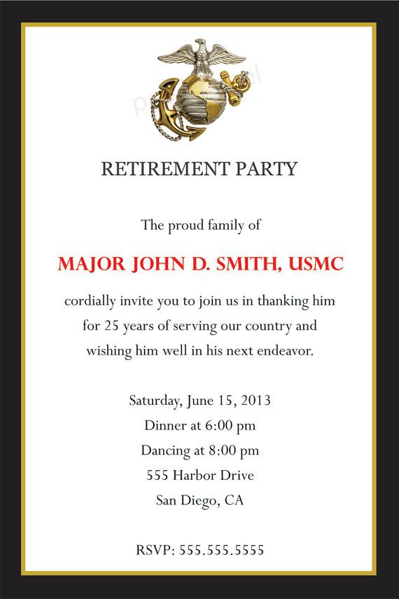 invitation idea marines retirement by paperpapelshop