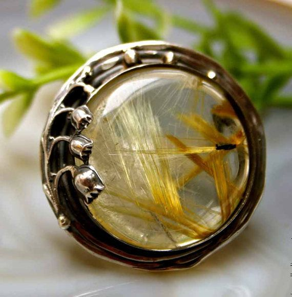 Rutilated Quartz Ring Statement Ring Sterling Silver by Izovella