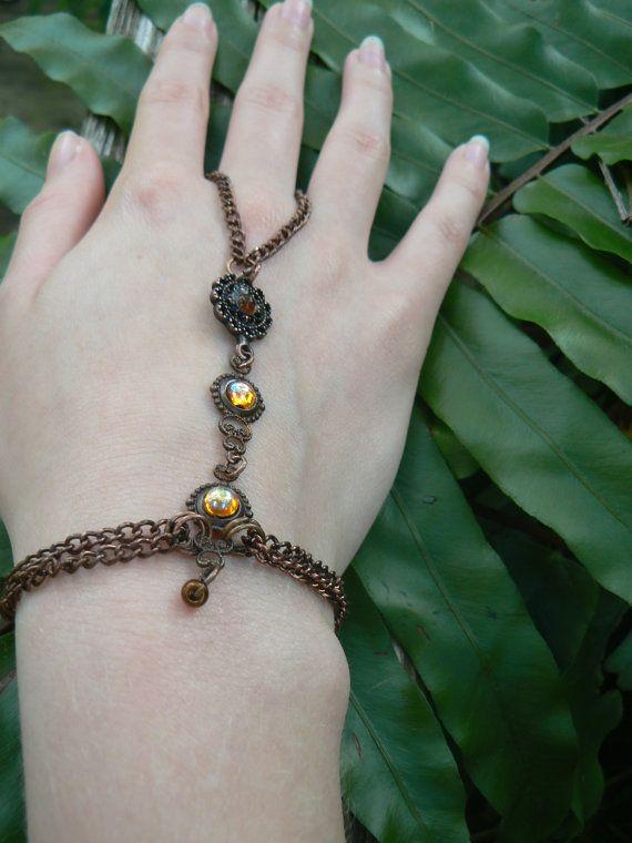 victorian slave bracelet  vintage topaz glass by gildedingypsy, $28.00