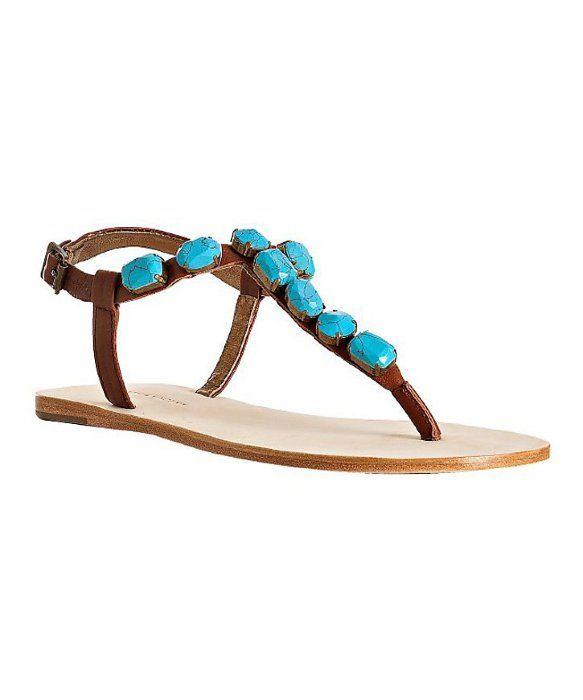 2b55cc8e5 Cynthia Vincent turquoise stone  Jewel  thong flat sandals