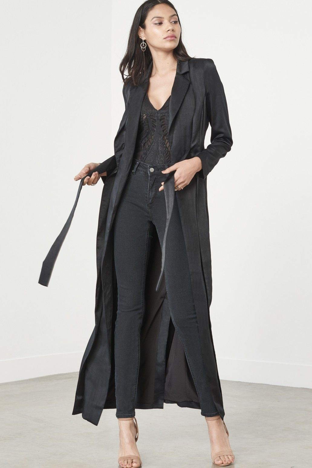 Black boucle duster coat