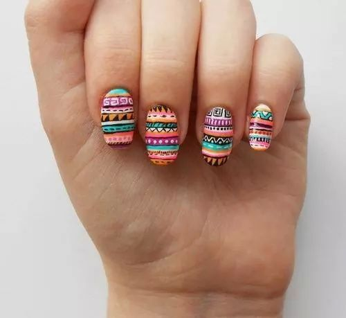 Pin by gabriela delgado on uas pinterest bohemian aztec tribal nails with bright color tribal print nail prinsesfo Image collections