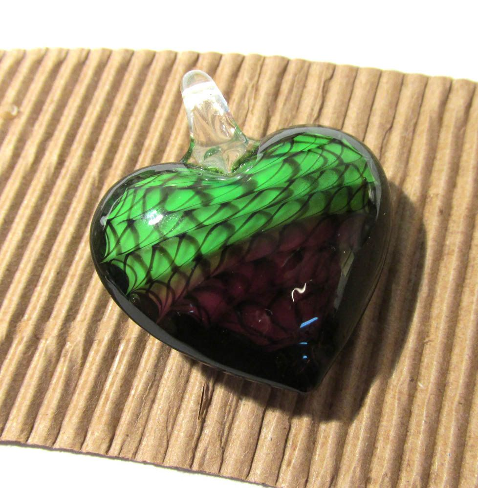 Murano heart pendant vintage glass pendant purple green lampwork murano heart pendant vintage glass pendant purple green lampwork heart pendant swirls vintage jewelry supplies lampwork aloadofball